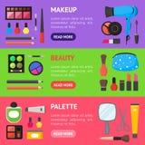 Il piano compone i cosmetici degli strumenti, la mascara e l'insieme di orizzontale dell'insegna di Brushe Vettore Immagini Stock Libere da Diritti