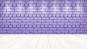 Il piano d'appoggio di legno bianco nei precedenti è un vecchio mattone rosso-chiaro Effetto del riflettore sulla parete - può es illustrazione di stock