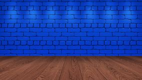 Il piano d'appoggio di legno marrone nei precedenti è un vecchio mattone blu Effetto del riflettore sulla parete - può essere usa immagine stock