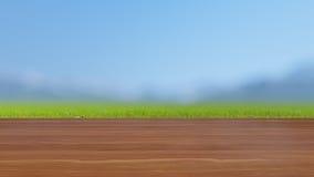 Il piano d'appoggio di legno sul campo verde 3D rende Fotografia Stock Libera da Diritti