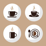Il piano delle icone della tazza di tè e del caffè ha messo 4 Fotografie Stock Libere da Diritti