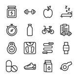 Il piano di dieta, sport completa, icone di nutrizione imballa illustrazione vettoriale