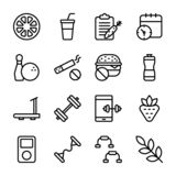 Il piano di dieta, sport completa, icone di nutrizione impacchetta royalty illustrazione gratis
