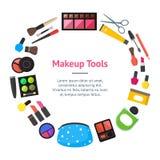 Il piano di vettore compone i cosmetici, la mascara e le spazzole del cerchio della carta dell'insegna degli strumenti sull'illus Fotografia Stock