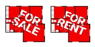 Il piano e l'appartamento è per la vendita/verso prua l'affitto Fotografia Stock Libera da Diritti