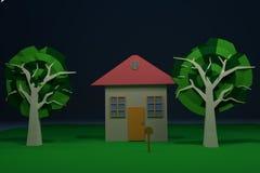 Il piano ha dipinto la casa con gli alberi e l'iarda verde Fotografie Stock Libere da Diritti