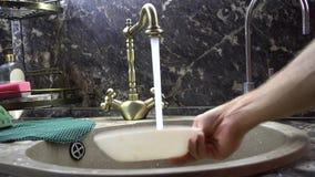 Il piatto è lavato in un lavandino sotto una corrente dell'acqua archivi video