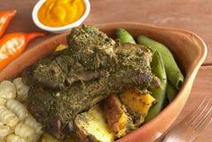 Il piatto peruviano ha chiamato Pachamanca fotografia stock libera da diritti