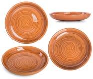 Il piatto piano delle terraglie con un modello a spirale Metta le foto da Fotografie Stock Libere da Diritti