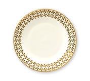 Il piatto vuoto con il bordo dorato del modello, piatto rotondo bianco caratterizza un bello orlo dell'oro, vista da sopra isolat fotografia stock libera da diritti