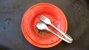 Il piatto vuoto dopo mangia le azione della foto Fotografia Stock