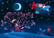 Il picchio sta dicendo il ciao all'aeroplano nella notte illustrazione di stock