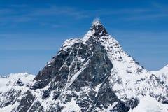 Il picco del Cervino è un punto di riferimento in Zermatt Svizzera Immagine Stock Libera da Diritti