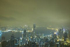 Il picco di Victoria, nuvola di mattina con foschia a Hong Kong immagini stock libere da diritti