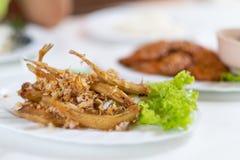 Il piccolo aglio fritto della gonna e del pesce pepa, questo sarebbe servito la a fotografia stock