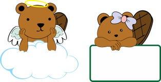 Il piccolo angelo sveglio e la ragazza beaver il copyspace del fumetto del bambino Fotografia Stock