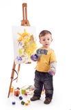 Il piccolo artista disegna Fotografia Stock Libera da Diritti