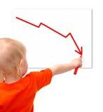 Il piccolo bambino traccia il grafico di recessione Fotografia Stock