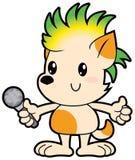 Il piccolo cane del fumetto con taglio di capelli punk canta il karaoke illustrazione vettoriale