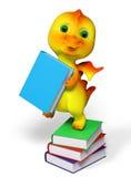 Il piccolo carattere divertente del drago con i libri ha isolato la rappresentazione 3d illustrazione di stock