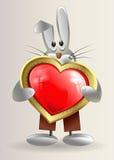Il piccolo coniglietto sornione tiene nel cuore di rosso delle mani illustrazione di stock