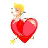 Il piccolo cupido che si siede sul cuore ha modellato la bomba con l'orologio della sabbia Fotografia Stock
