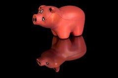 Il piccolo maiale che è un giocattolo ha fatto di gomma Fotografia Stock