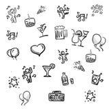 Il piccolo partito scarabocchia gli schizzi disegnati a mano Immagini Stock Libere da Diritti