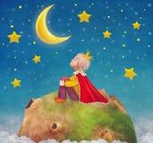 Il piccolo principe su un pianeta in bello cielo notturno Fotografia Stock