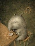 Il piccolo tapiro gode di di pranzare gli scacchi Royalty Illustrazione gratis