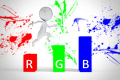 il piccolo uomo 3d salta sui colori di rgb Fotografia Stock