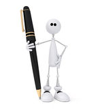 Il piccolo uomo bianco 3D con la maniglia. Immagini Stock
