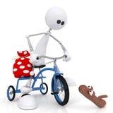 Il piccolo uomo 3D in bicicletta. Immagine Stock Libera da Diritti