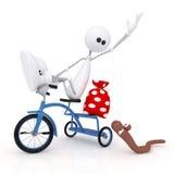 Il piccolo uomo 3D in bicicletta. Fotografie Stock Libere da Diritti