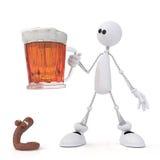 Il piccolo uomo 3D con birra. Immagini Stock