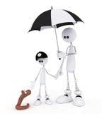 Il piccolo uomo 3D con il bambino su una pioggia. Fotografia Stock