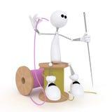 Il piccolo uomo 3D con un ago. Immagine Stock