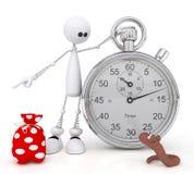 Il piccolo uomo 3D con un cronometro. Immagine Stock