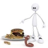 Il piccolo uomo 3D con un hamburger. Immagine Stock