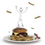 Il piccolo uomo 3D con un hamburger. Fotografie Stock Libere da Diritti