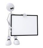 Il piccolo uomo 3D con un segno. Fotografia Stock Libera da Diritti
