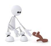 Il piccolo uomo 3D con un verme. Fotografie Stock Libere da Diritti