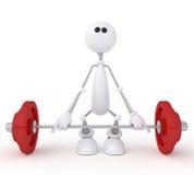 Il piccolo uomo 3D con una barra. Fotografia Stock