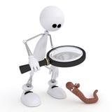Il piccolo uomo 3D con una lente d'ingrandimento. Fotografie Stock Libere da Diritti