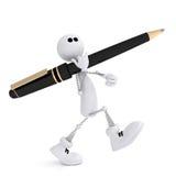 Il piccolo uomo 3D con una penna. Immagine Stock