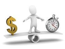 il piccolo uomo 3d equilibra il tempo ed i soldi illustrazione di stock