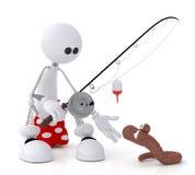 Il piccolo uomo 3D su pesca. Fotografia Stock