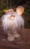 Il piccolo uomo magico con una barba e un cucchiaio di legno sul taglio Fotografia Stock