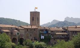 Il piccolo villaggio medioevale di Santa Pau, Spagna Immagine Stock Libera da Diritti