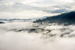 Il piccolo villaggio in nebbia, alcune dove vicino a Dalat, Vietnam Fotografie Stock